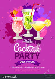 bright color flyer for invitation to night club cocktail summer