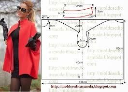 Famosos Casaco estilo capa com medidas para facilitar o molde @HE02
