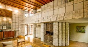 frank lloyd wright home interiors frank lloyd wright millard house concrete block interior living