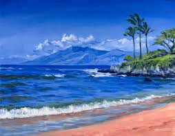 original painting waves palms and sky at maui beach paintings by emerging los angeles area artists