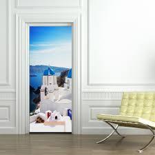 funlife greek santorini modern style wall sticker removable door