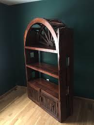 rustic adirondack reclaimed wood bookshelf wagon wheel bookshelf