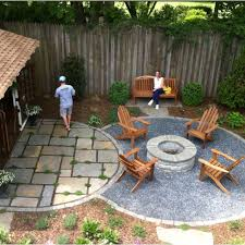 Backyards Ideas Simple Patio Ides Half Burrying Some Bricks As A Border And The