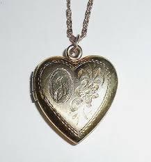 art deco 12k gold filled fancy b or j heart locket necklace