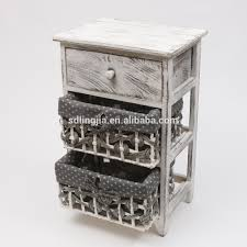 hand woven grey wicker basket drawers cabinet wooden organizer in