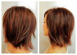 short hairstyles with peekaboo purple layer before after mocha brown with copper and peek a boo almond
