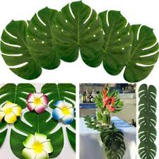 Luau Party Table Decorations 12pcs Tropical Hawaiian Big Green Polyester Leaves Luau Party