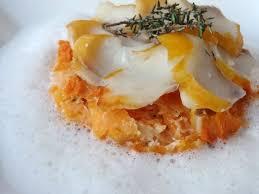 cuisiner haddock effeuillé de haddock sur dauphinois de patates douces écume