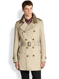 burberry brit britton double breasted trench coat in natural for
