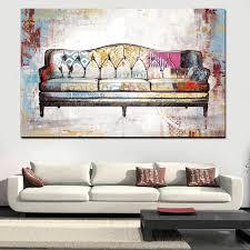 canap r tro impression aquarelle rétro canapé peinture abstraite sur toile pop