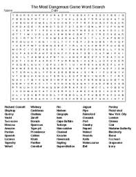the most dangerous game crossword u0026 word search with keys tpt