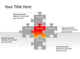 powerpoint slide puzzle diagram 5 pieces red pl249