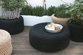 Upcycle Ottoman Modern Macrame Poufs And Planters By Ineke Visser Tired
