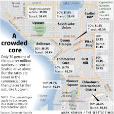 Seattle Map Downtown by As Jobs Grow In Downtown Seattle Workers Are Turning More To