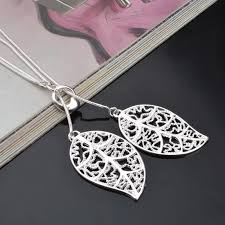 leaf charm necklace images New fashion silver color big leaf pendant necklace beautiful jpg