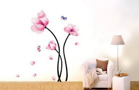 amazon com pink magnolia flowers wall stickers diy mural art amazon com pink magnolia flowers wall stickers diy mural art decal self adhesive removable pvc wallpaper decor 19 7 inch 27 6 inch original home kitchen