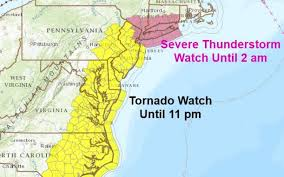 Map Of New Jersey And Pennsylvania by Tornado Watch Issued For 16 N J Counties As Powerful Storms Move