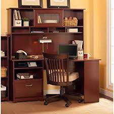 amazon com cabot corner desk with hutch in harvest cherry