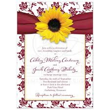 wedding invitations burgundy fall sunflower wedding invitation burgundy yellow