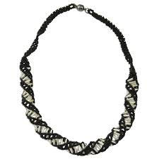 black necklace long images Dna black white beaded necklace 18 quot long jpg