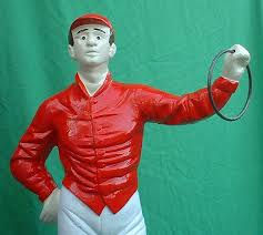 white metal lawn jockey statue replica cast aluminum