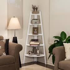 danya b 63 in white finish 5 tier corner ladder display bookshelf