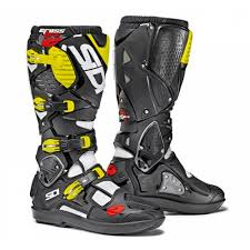 yellow motocross boots sidi crossfire 3 srs mx boot white black fluor yellow