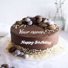write name on chocolate shaped birthday cake picture happy