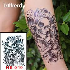 black ink temporary tattoos skull clock waterproof