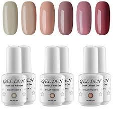 2017 popular colors amazon com gellen uv gel nail polish kit popular nude colors