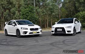 mitsubishi evolution 2016 interior 2016 subaru wrx sti vs mitsubishi lancer evolution x 0 100km h