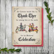 medieval times thank you card printable thank you card
