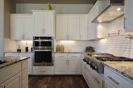 subway tiles kitchen gray recessed panel cabinets white subway