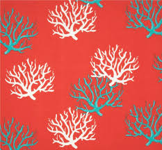 coral turquoise blue coastal indoor outdoor fabric by the yard
