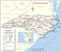 Southeastern United States Map by Reference Map Of North Carolina Usa Nations Online Project