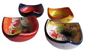 amazon com decorative bowls 3 corner salsa bowls set of 4