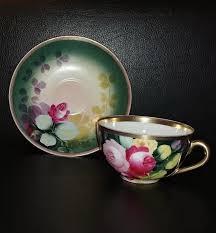 antique pot metal ls vintage l s s austria porcelain tea cup saucer set handpainted