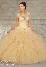 gold quince dresses beaded tulle with a ruffled skirt quinceanera dress style 89033