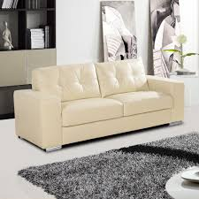 white leather 2 seater sofa ivory cream leather sofa collection with tufted seats and cushions