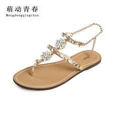 2017 new bohemian women sandals crystal flat heel sandalias