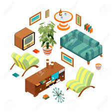 Retro Living Room by Isometric Objects From A Retro Living Room The Objects Are