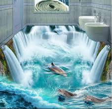 dolphin home decor custom mural 3d flooring picture pvc self adhesive wallpaper great