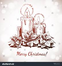 vector hand drawn christmas candle decoration stock vector