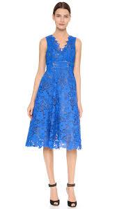 monique lhuillier guipure tea length dress in blue lyst