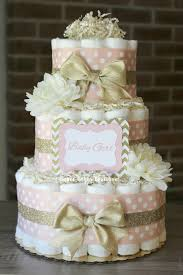 3 tier blush pink and champagne gold diaper cake baby