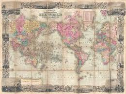 Decorative World Map Colton U0027s New Illustrated Map Of The World On Mercator U0027s Projection