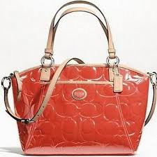 Coach 20028 Peyton Patent Leather Bag Persimmon Purse Pocket Tote