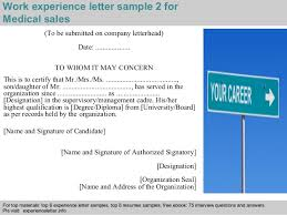 medical sales experience letter