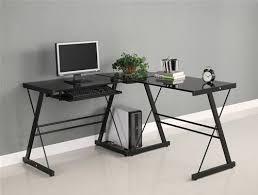 Black Glass L Shaped Desk Black Glass L Shaped Desk With Steel Frame Officedesk