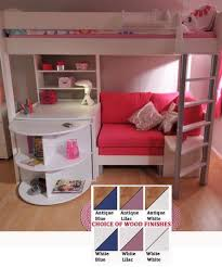 like the cozy look underneath this loft loveseat shelving the